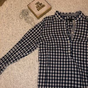 Talbots Navy and White Gingham Button Down